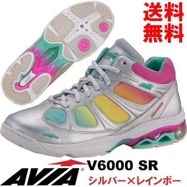 [AVIA]アビア フィットネスシューズ V6000 SR〔シルバー×レインボー〕(22.5~26.0cm/レディース/メンズ)【17SS03】【アヴィア正規品】/送料無料
