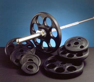 【Φ50mmバーベルプレート】IVANKO(イヴァンコ)オリンピックラバーイージーグリッププレート 15kg(使いやすいグリップホール付)ROEZH-15