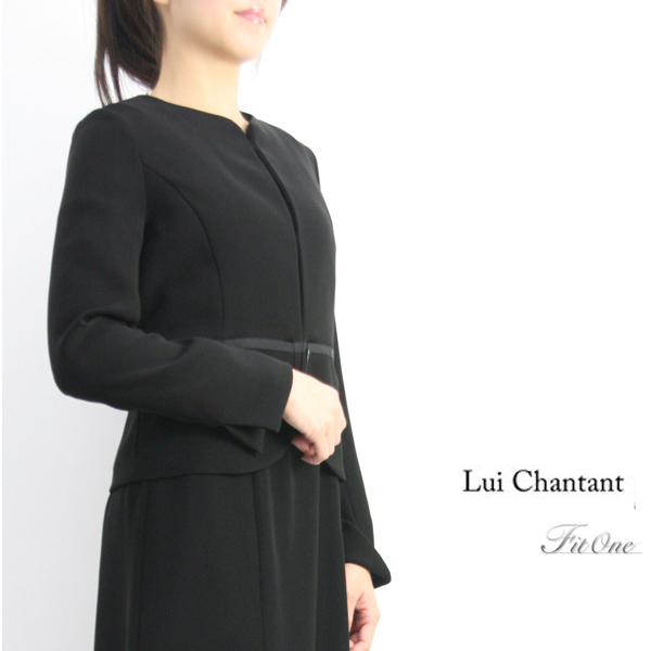 【50%OFF】【SALE】【ルイシャンタン】【Lui Chantant】【あす楽対応_北陸】【ギフト対応】 手洗い可 ブラック セレモニー ノーカラー ジャケット 長袖
