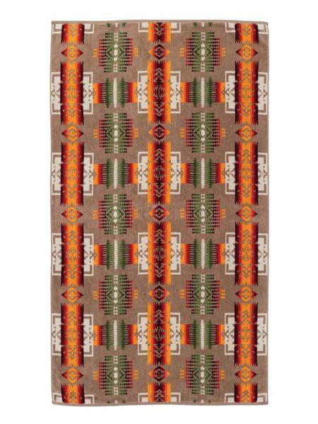 PENDLETON OVERSIZED JACQUARD TOWELS CHIEF JOSEPH K【XB233-51114-1SZ-KHAKI】