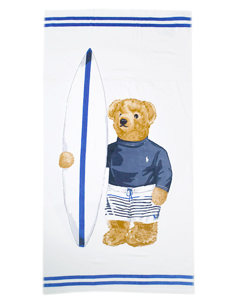 POLO RALPH LAUREN SURF BOY BEAR BEACH TOWEL【611710072001-B-WHITE】