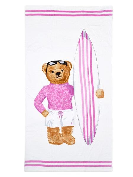 POLO RALPH LAUREN SURF GIRL BEAR BEACH TOWEL【611710073001-B-WHITE】
