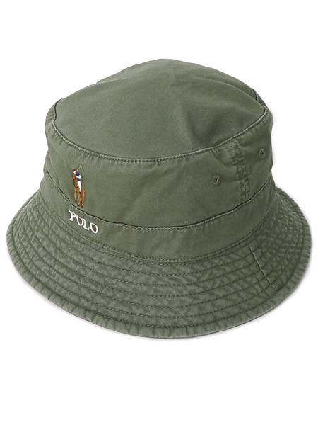 POLO RALPH LAUREN LOFT BUCKET CAP MULTI PONY【710787242004-D-OLIVE】