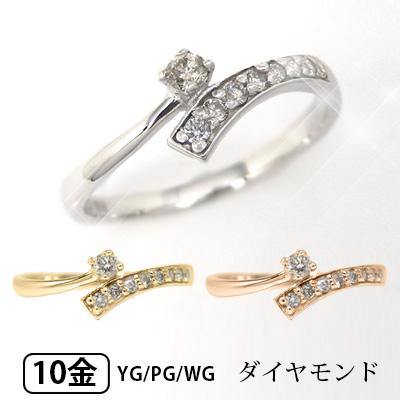 K10YG/PG/WG ダイヤモンド ピンキーリング 【送料無料】【smtb-TD】【saitama】【プレゼント ギフト】▼