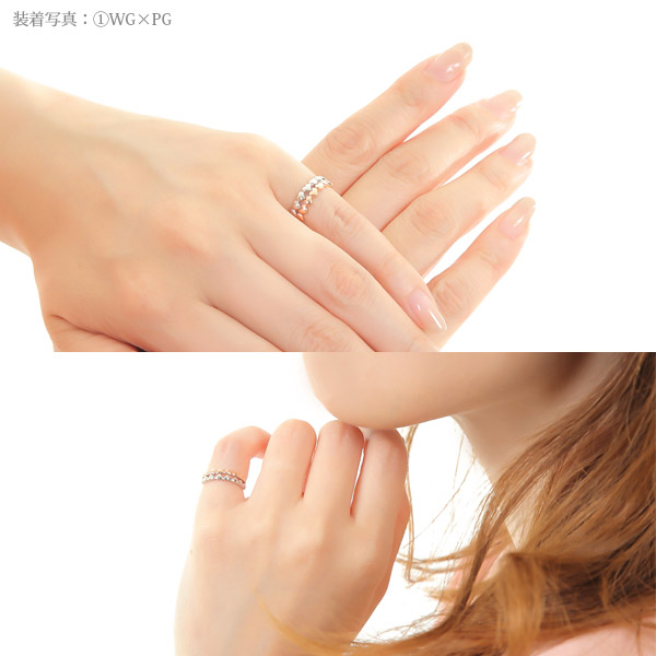 Heart design pinkie ring combination K10YG/PG/WG ▼