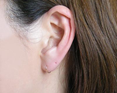 Gold K18 circle pipe hoop pierced earrings line diameter 0.5mm φ outer diameter 8mmfs3gm10P10Nov13▼