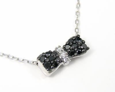 ブラックダイヤモンド ネックレス K10WG ホワイトゴールド リボンモチーフ 【プレゼント ギフト】▼
