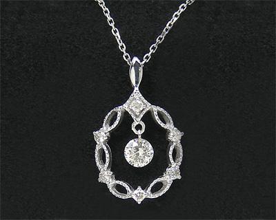 揺れる ダイヤモンド ネックレス レーザーホール K10WG 【プレゼント ギフト】▼