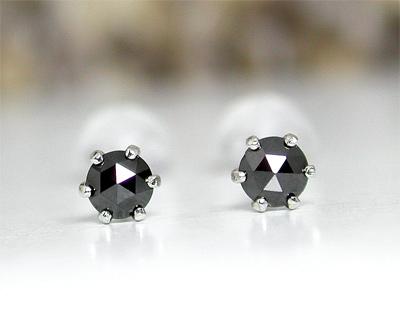 ブラックダイヤモンド ピアス 3mm ローズカット K14WG 左右トータル約0.2ct 【プレゼント ギフト】【あす楽】▼