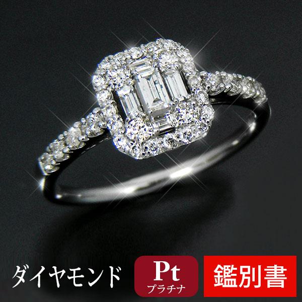 【鑑別書付】 Pt900 プラチナ ダイヤモンド リング バゲット ラウンドカット 0.4ct 【プレゼント ギフト】▼