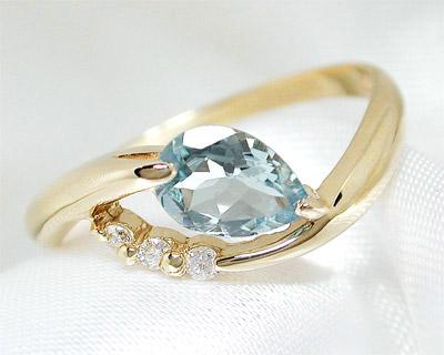 K10 アクアマリン ダイヤモンド リング 【プレゼント ギフト】▼
