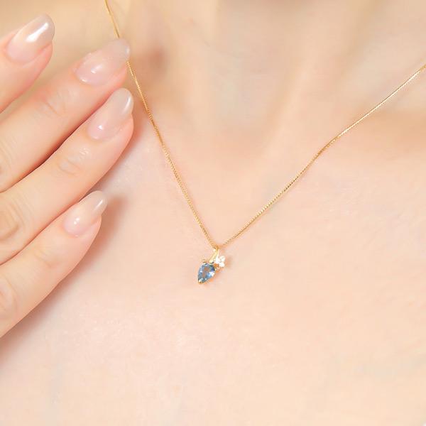 Santa Maria aquamarine necklace K18YG ペアーシェイプ ▼