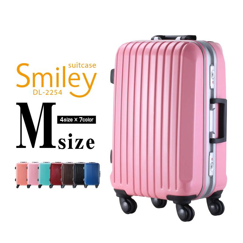 DL-2254 Mサイズ スーツケース キャリーバッグ 旅行かばん キャリーケース トランクケース 送料無料 Wキャスター フレーム式スーツケース 旅行用品 かわいい ビジネスキャリーケース 【送料無料 一年間保証 あす楽対応】