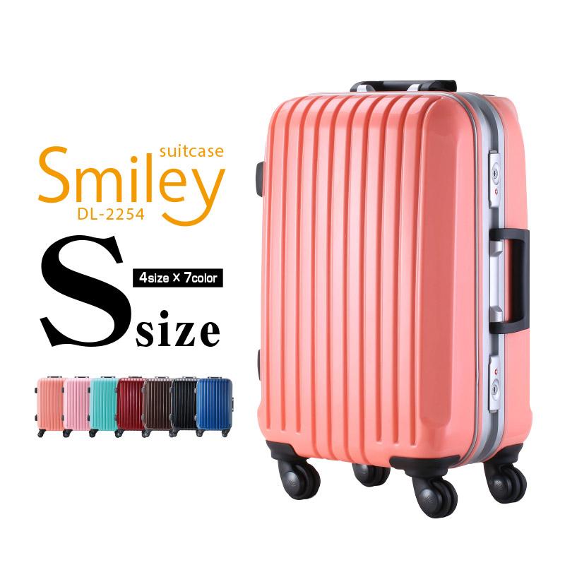DL-2254 Sサイズ スーツケース 小型 キャリーバッグ 旅行かばん キャリーケース トランクケース 送料無料 フレームタイプ 旅行用品 かわいい【一年間保証 あす楽対応】 女子旅 海外 国内 旅行 Go To Travel キャンペーン