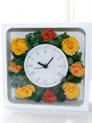 花時計 イエロー プリザーブドフラワー ギフト ブリザードフラワー フラワーギフト ブリザーブドフラワー プレゼント オレンジ 花時計