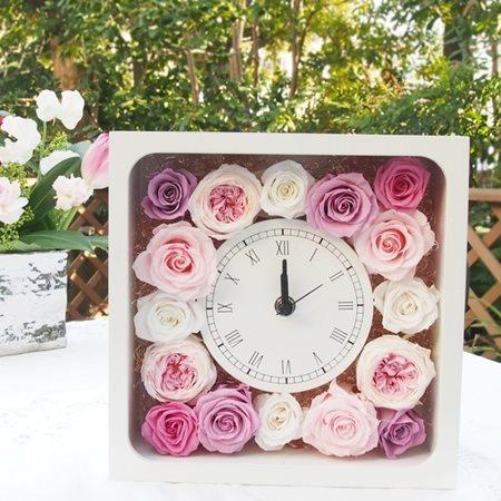 花時計 エレガントローザ プリザーブドフラワー ギフト 花時計 ブリザードフラワー フラワーギフト ブリザーブドフラワー プレゼント 母の日 誕生日 結婚祝い 出産祝い 新築祝い ピンク プレゼント