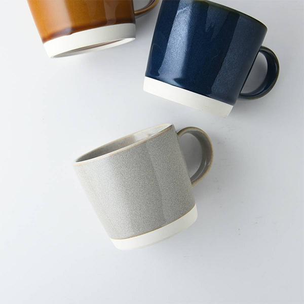 カフェマグカップ 12x8.5cm グレー ブラウン ブルー 日本製 洋食器 生活雑貨 キッチン 東海焼 食器 東海焼き 現代風アレンジ ご予約品 ペアカップ お皿 カフェ TOKAI-YAKI マグカップ 毎日続々入荷