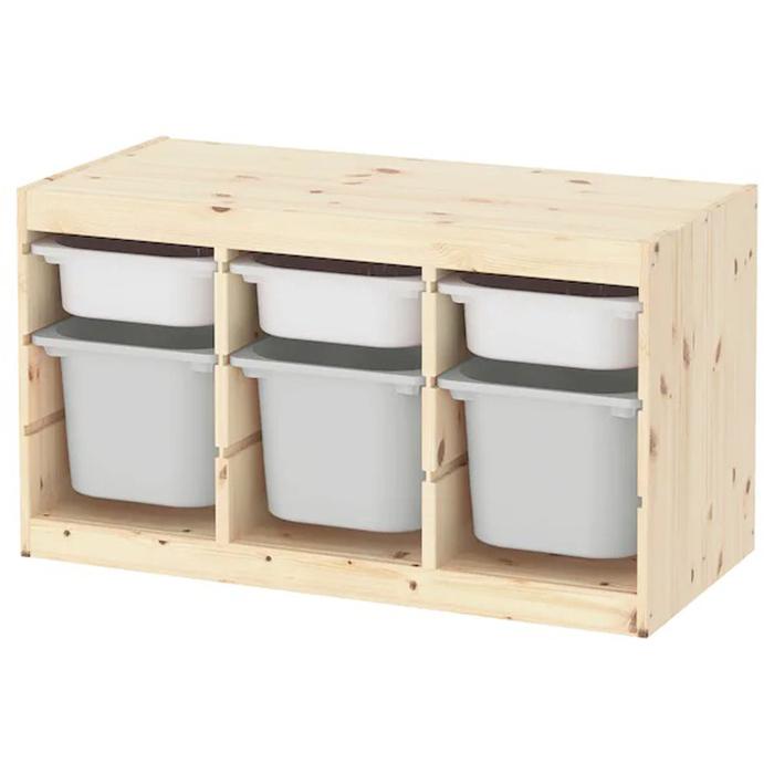 送料無料 IKEA イケア TROFAST トロファスト 収納コンビネーション 収納棚 収納ボックス キッズ バーチ材合板 小ケースホワイト×3 中ケースグレー×3 毎週更新 フレームパイン お片付け こども 大規模セール