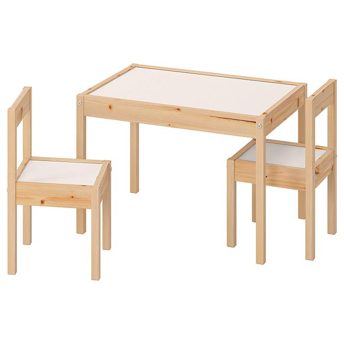 IKEA イケア LATT レット 子供用 机 椅子 セット おしゃれ 北欧 かわいい パイン ホワイト 学習机 特価 シンプル 勉強机 キッズ 子ども用テーブル おすすめ 木製 祝開店大放出セール開催中 白 パイン材 チェア2脚付
