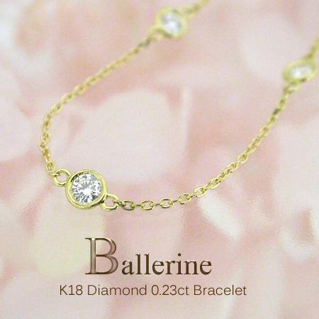 K18 ダイヤモンド 0.23ct/5p ブレスレット[Ballerine023]ベゼルセッティング ブレスレット FLAGS フラッグス ダイヤモンド フクリン【オプション価格は税別価格です】