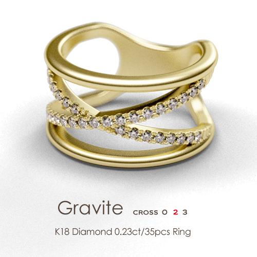 K18 ダイヤモンド 0.23ct/35pcs リング[Gravite023 -cross-]イエローゴールド ピンクゴールド ホワイトゴールド FLAGS フラッグス 18金 指輪≪※納品:約1ヵ月半です≫【オプション価格は税別価格です】