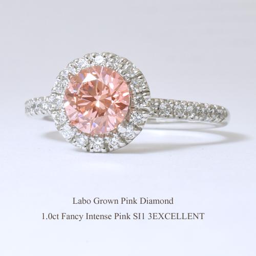 ラボグロウン ピンクダイヤモンド[1.0ct Fancy Intense Pink SI1 3EXCELLENT IGI]& 天然ダイヤモンド0.3ct/30pcs Pt900 リングプラチナ 人工ダイヤモンド 合成ダイヤモンド 指輪 フラッグス FLAGS