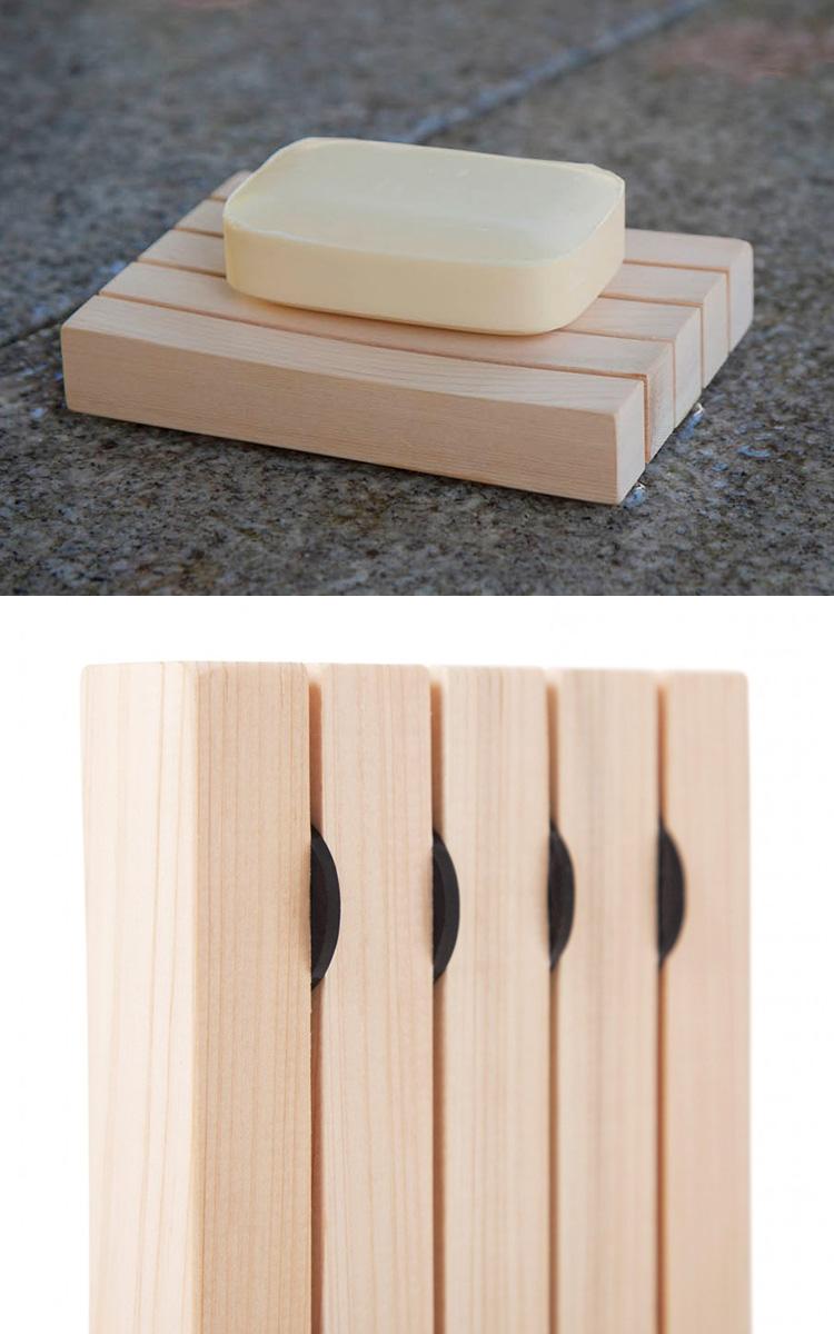 由木曾桧 (12 x 8.5 x 2.5 厘米) 制成的肥皂碟 / 木生命研究所 (TRTG)
