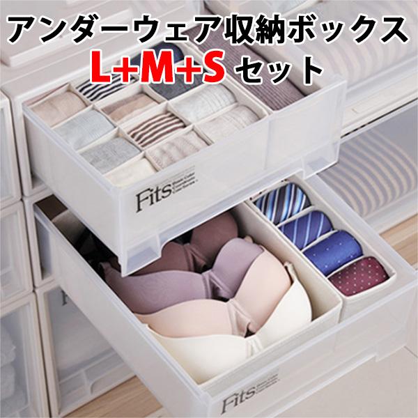 6個セット アンダーウェア収納ボックス L+M+Sサイズ 下着収納 引き出し用(SMYM)【送料無料】【ポイント5倍/在庫有】【12/27】【あす楽】