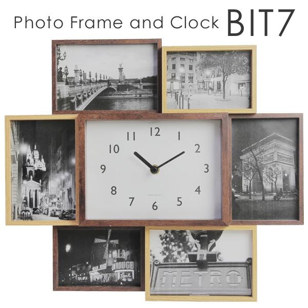 人気ブレゼント フォトフレームと時計がセットになった 木製風フォトフレーム 写真を6枚収納でき 卓上 壁掛け両用 贈り物にも最適なフォトフレームです 授与 BIT 7 ビットセブン 17 9 MGNT あす楽 2453 クロック フォトフレーム 送料無料 GK
