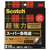 *受発注*3M スコッチ 超強力両面テープ プレミアゴールド 15mm×10m1セット(10巻)