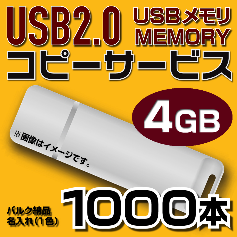 USB4GB コピーサービス バルク納品 名入れ(一色) 1000本