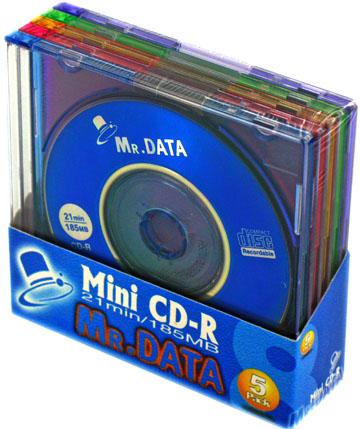 【300枚まとめ買い☆送料無料】MR.DATA 8cm CD-R データ用 185MB (21分) カラ―MIX 5枚×60個 5mmスリムケース入り Mini CD-R21(MIX) 1PX5