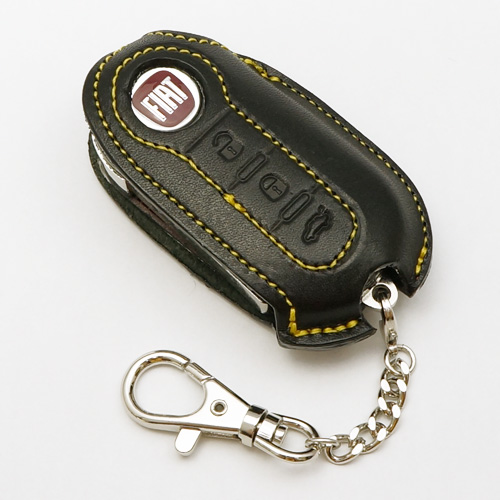 And Fiat 500 Abarth Fiat Abarth Leather Key Cover Black Yellow Stitch