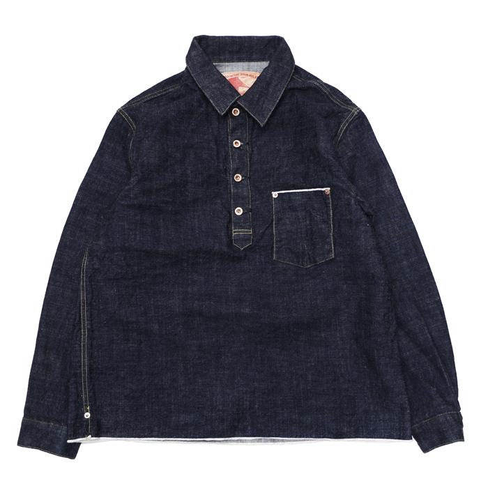 FOB FACTORY - F2384 G3 デニム プルオーバーシャツジャケット (WA/ワンウオッシュ) ~ エフオービーファクトリー 日本製 岡山 ~