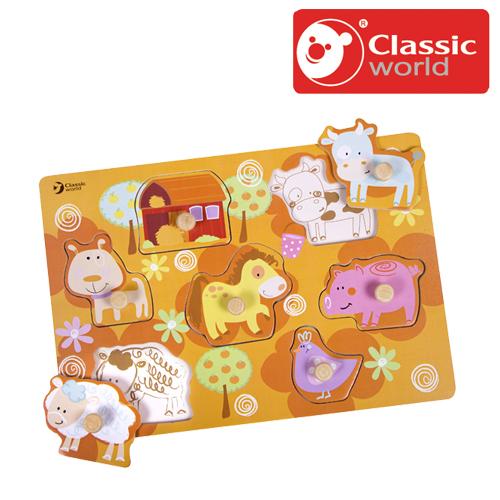 7種類のパズルは農場にいる動物たちをテーマにしています 正規品 Classic 人気ショップが最安値挑戦 クラシック カラフル ファーム ピックアップパズル パズル 市販 ペグパズル 木製玩具 木のおもちゃ