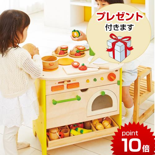 正規品 すぐに遊べる小物9点付き! エドインター 森のアイランドキッチン 木製キッチン おままごと 木のおもちゃ