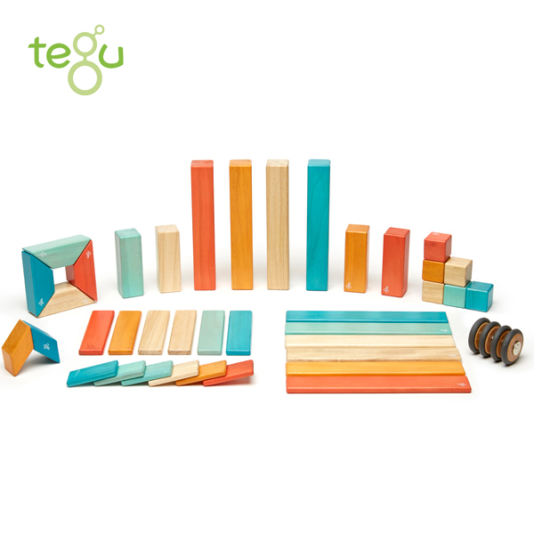 正規品 tegu(テグ) [マグネットブロック 42ピース サンセット] 積み木 つみき