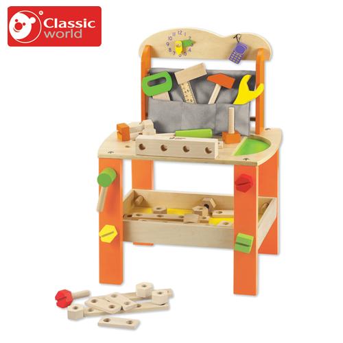 トンカチやレンチ、のこぎりなどいろいろな道具が入っています 正規品 Classic(クラシック) [ツールベンチ] [あす楽対応] 大工さん おもちゃ 木製玩具 知育玩具 木のおもちゃ