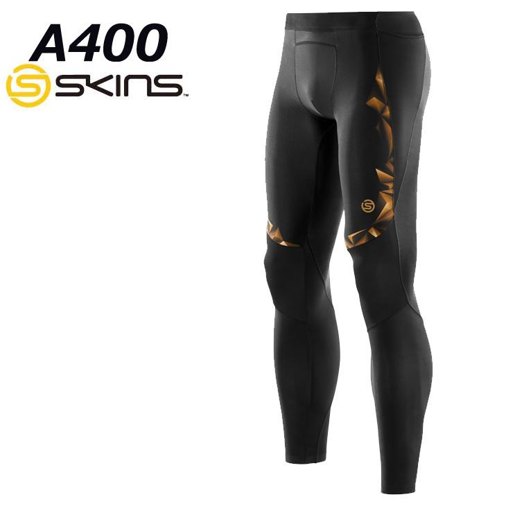skins a400 スキンズ メンズロングタイツ (BKGL)ブラック×ゴールド 【正規品】K32156001D コンプレッション インナー