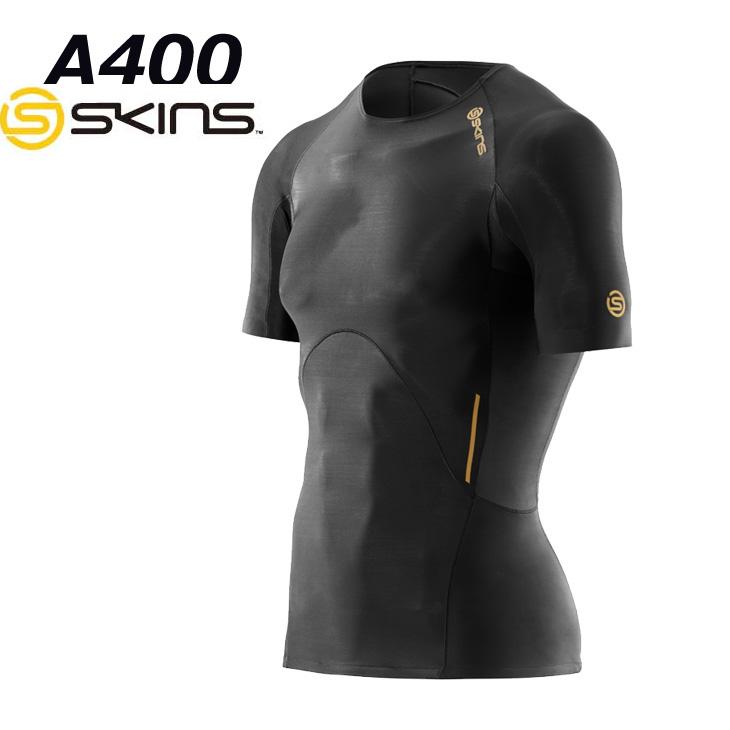 スキンズ SKINS A400 メンズ ショートスリーブ トップ (BKBK/BKGL)【正規品】 コンプレッション インナー short sleeve K32001004D/K32156004D【返品種別OUTLET】