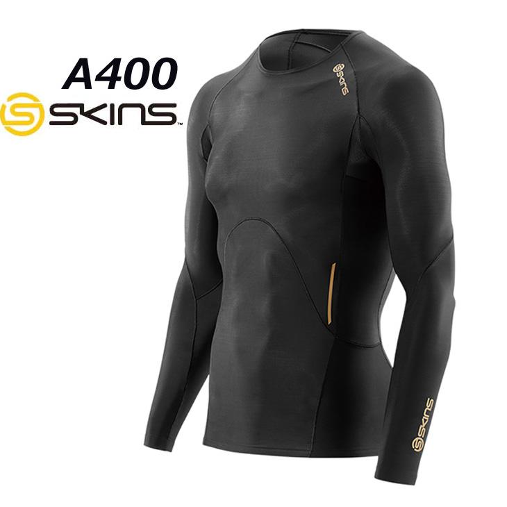 SKINS スキンズ A400 メンズ ロングスリーブ トップ BKBK(Black/Black) 【正規品】コンプレッション インナー 【メール便可】