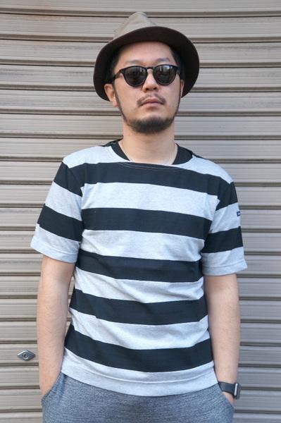 【Le minor】 【JAPAN CUSTOM】 HALF SLEEVE BASQUE SHIRT -AUDE NOIR- LEF171014S ルミノア 日本別注 半袖 バスクシャツ グレー ブラック ボーダー