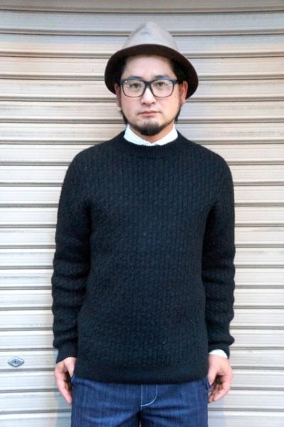 【GLEN FYNE】 [JAPAN CUSTOM] CHEVRON STITCH CREW NECK PULL OVER -JET BLACK- グレンファイン 別注 シェブロン ステッチ クルーネック プルオーバー セーター ジェットブラック