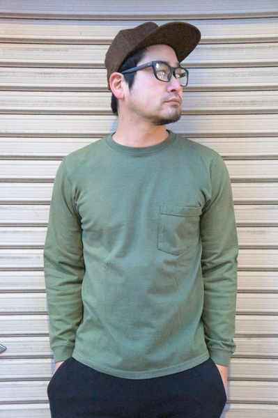 【GOOD WEAR】 【JAPAN CUSTOM】OVER DYE CREW NECK LONG SLEEVE POCKET TEE -O.D- グッドウェア 後染め クルーネック ロングスリーブ ポケット Tシャツ オーディー オリーブ ミリタリー 緑