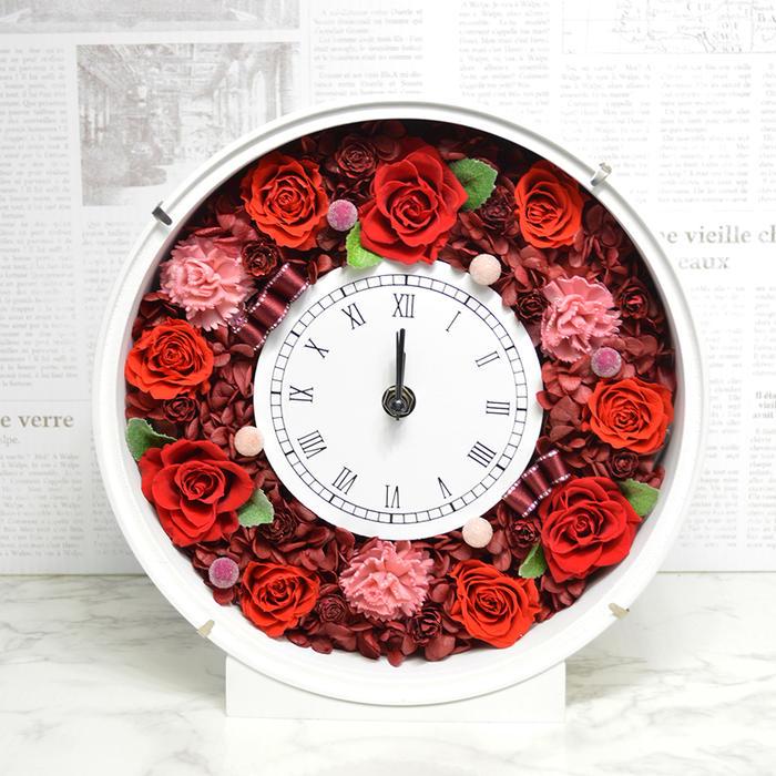 送料無料 プリザーブドフラワー 花時計 レッド 新築祝い 開店祝い 開業祝い フラワーギフト