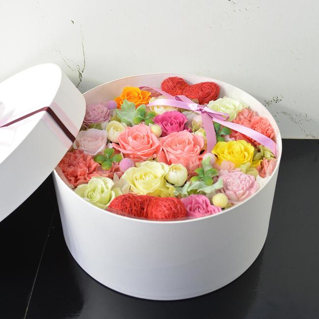 あす楽対応 プリザーブドフラワー カラフルミックス ボックスフラワー boxフラワー 誕生日 記念日 結婚祝い 引越し祝い フラワーアレンジメント
