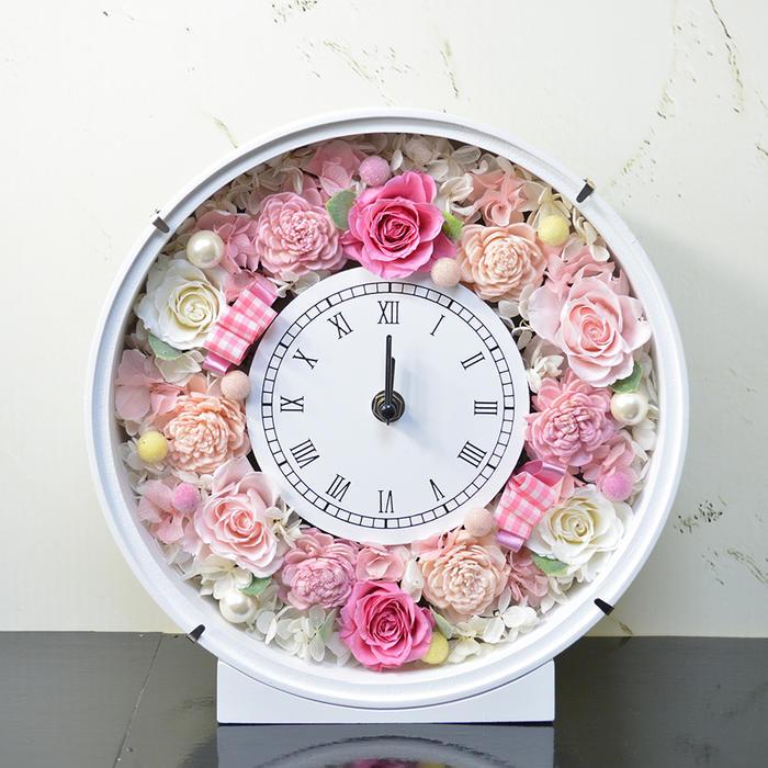 プリザーブドフラワー ピンクバラ 時計 フラワーギフト 花 贈り物 プレゼント 開店祝い 引越し祝い 開業祝い 結婚祝い ギフト 誕生日
