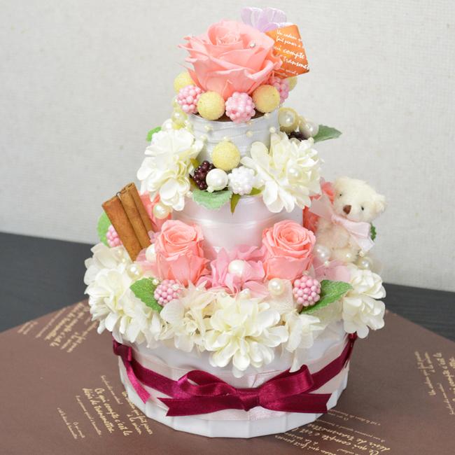 プリザーブドフラワー ウェディングケーキ風フラワーケーキ3段 カラー:ピンク 誕生日祝い 結婚祝い 記念日 フラワーギフト