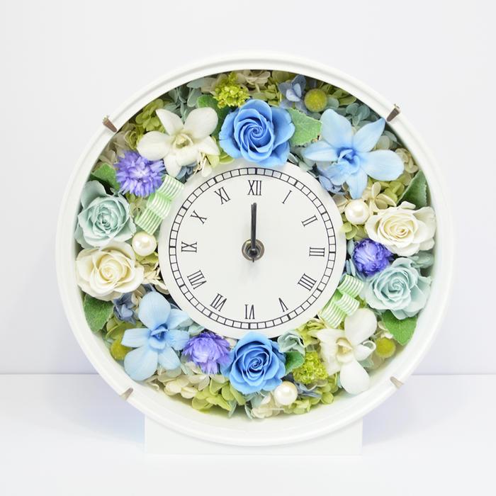 プリザーブドフラワー 時計 素敵なブルー 花 贈り物 プレゼント 開店祝い 引越し祝い 開業祝い 結婚祝い ギフト 誕生日 置き時計 退職祝い 古希 還暦 白寿 米寿 新築祝い バラ 薔薇