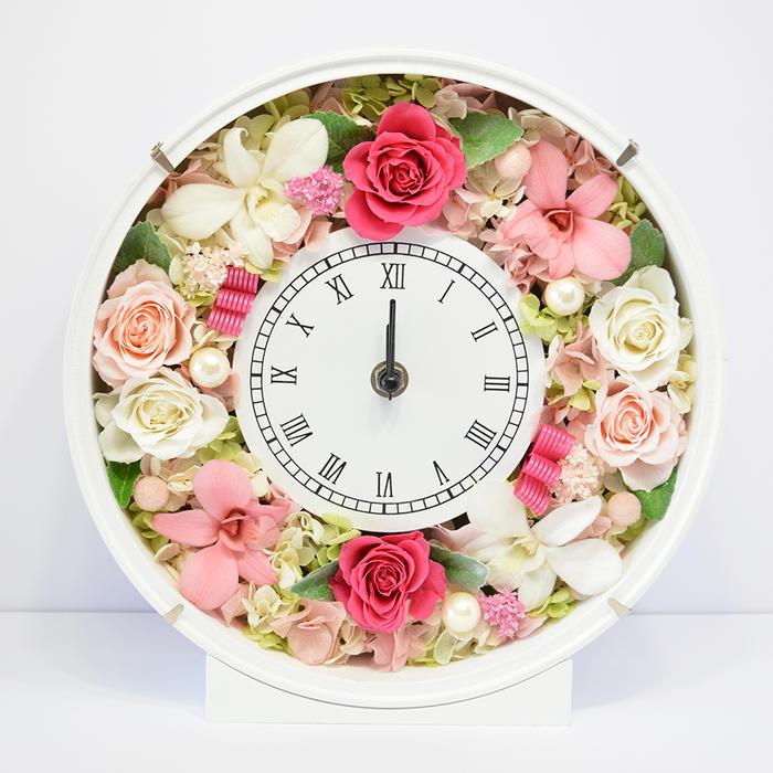 送料無料 プリザーブドフラワー 花時計 優しいピンク 新築祝い 開店祝い 開業祝い フラワーギフト